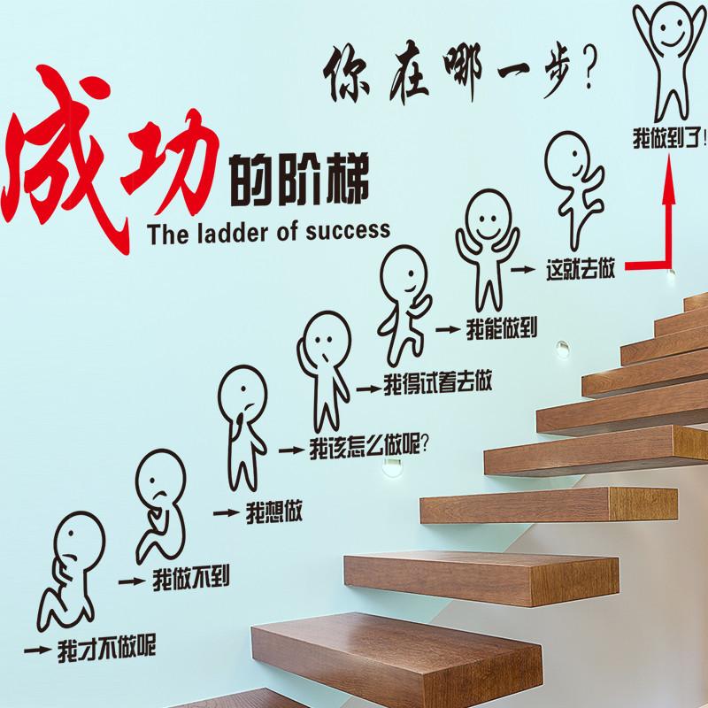 励志贴墙贴纸办公室班级教室装饰公司企业文化墙会议室团队的阶梯