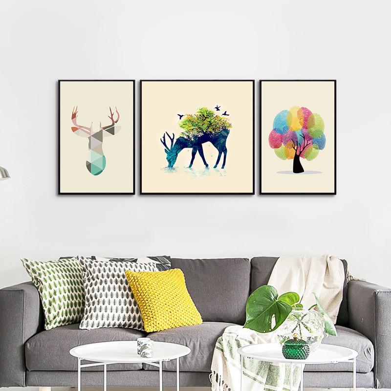 客廳裝飾畫沙發背景墻掛畫北歐三聯畫現代簡約餐廳臥室墻壁畫麋鹿