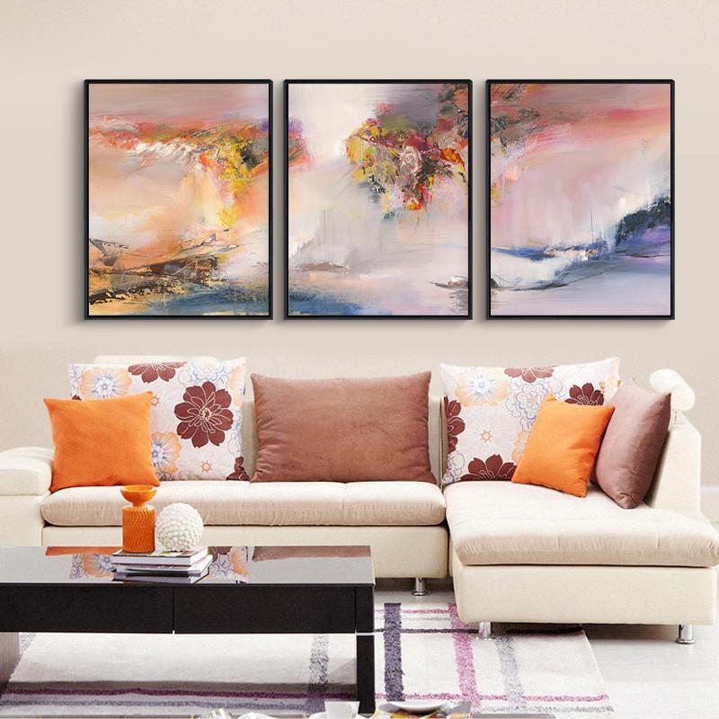 客厅三联装饰画赵无极墙画沙发背景墙抽象山水金丝新中式轻奢挂画图片