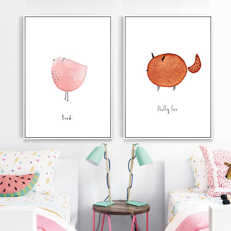 小清新装饰画可爱动物萌宠水彩画单幅儿童房墙画客厅沙发北欧壁画