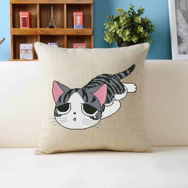 十字绣客厅新款卡通动物可爱儿童猫呆萌猫咪亚麻抱枕花