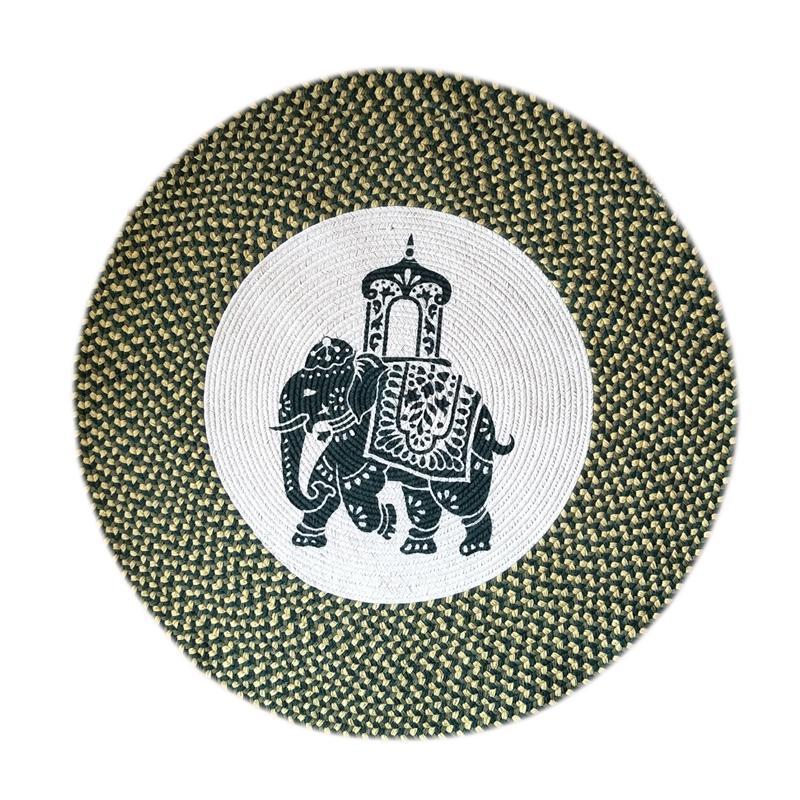 东南亚风大象复古手工编织北欧圆形地毯地垫家用瑜伽垫圆毯子