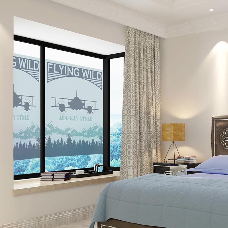 墙贴玻璃贴复古飞机客厅卧室窗户移铺橱窗卫生间瓷砖防水贴纸