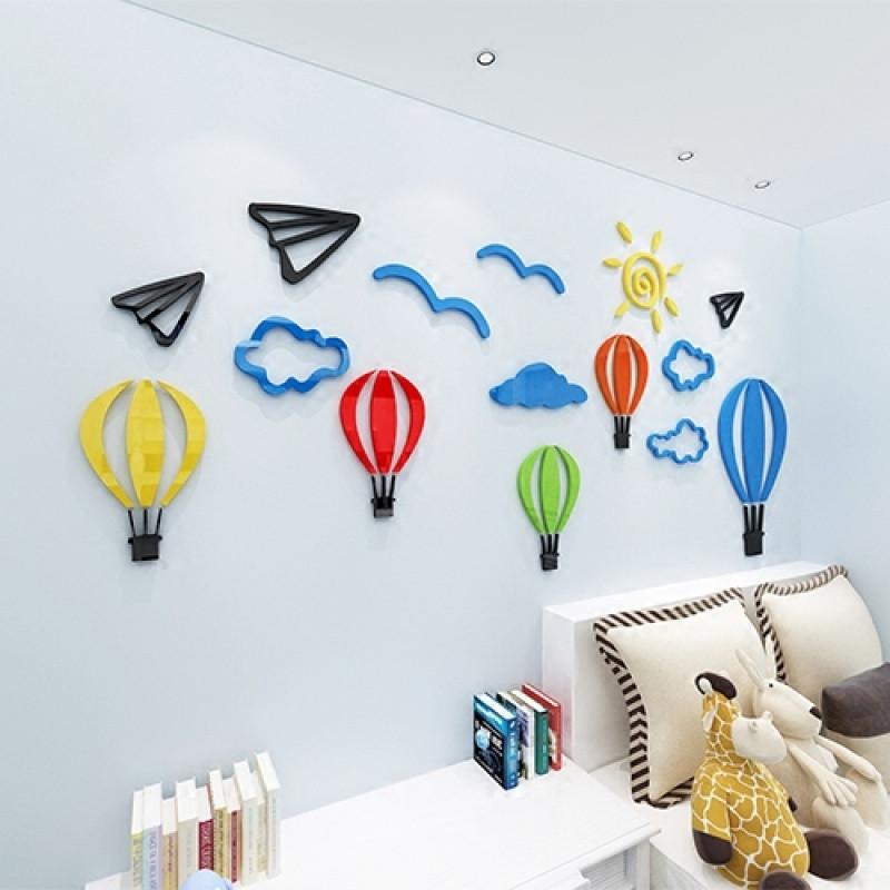 热气球幼儿园墙面装饰3d立体亚克力墙贴画儿童房客厅卧室背景墙贴