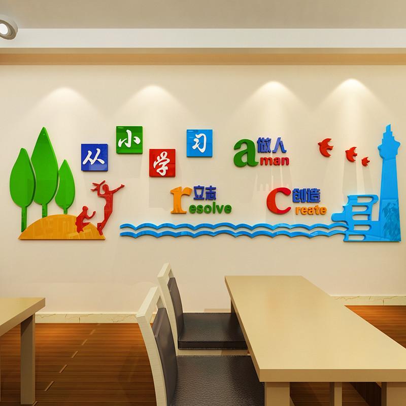 小学学校励志墙贴纸教室学习背景墙面装饰班级布置辅导班墙上贴画图片