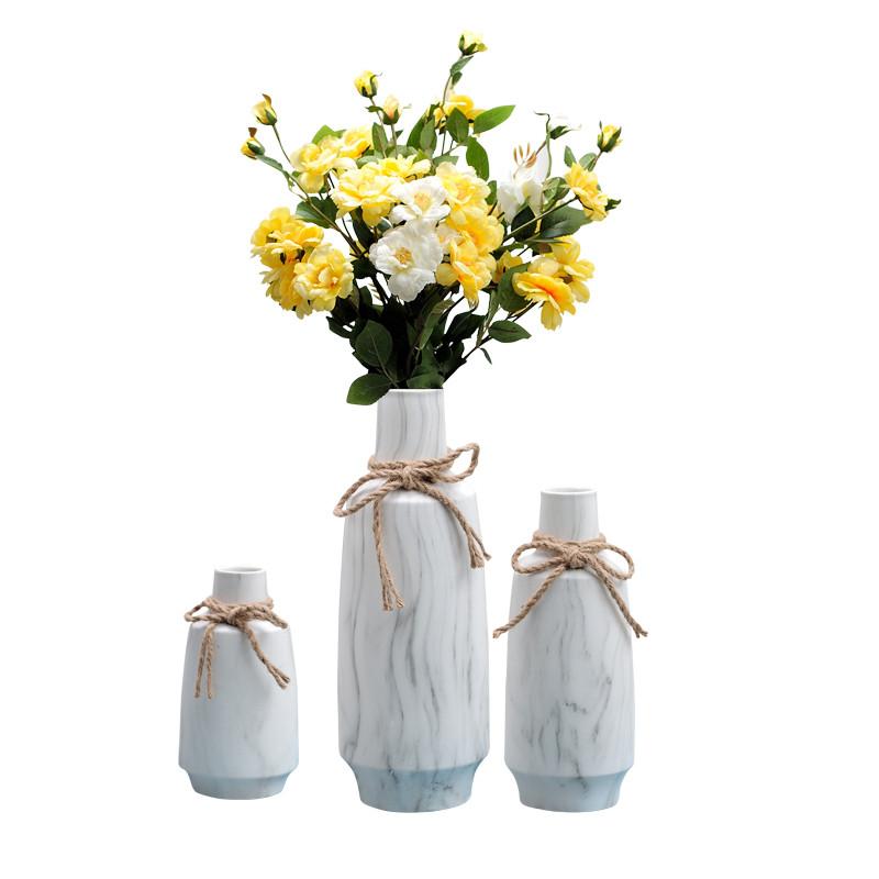 北欧家居装饰品陶瓷花瓶大理石纹插花花器样板房软装装饰摆件创意