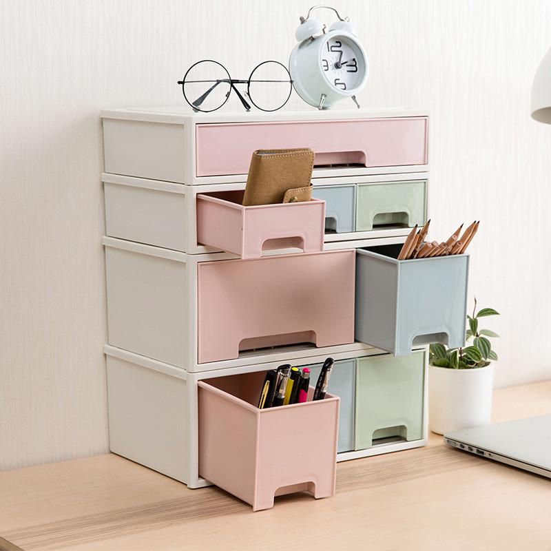 可叠加抽屉式多层组合收纳柜办公塑料分格整理盒桌面化妆品收纳盒图片