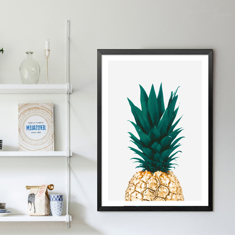 绿色菠萝餐厅装饰画现代简约个性创意北欧风格小清新壁画客厅壁画