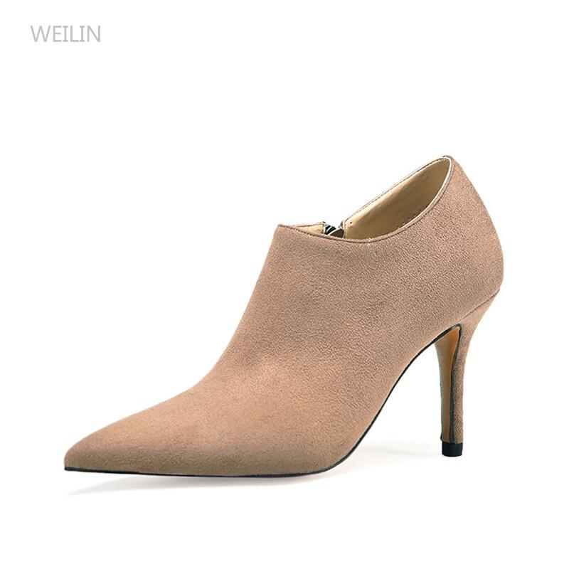 weilin秋季女鞋深口单鞋女尖头鞋子高跟鞋冬天及踝短靴子
