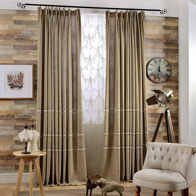新款2018现代新中式窗帘客厅卧室飘窗落地窗棉麻遮光纯色窗帘布艺成品图片