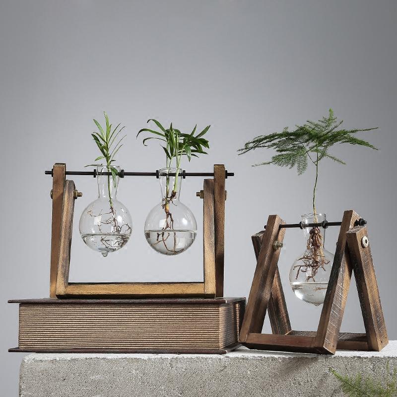 新款2018创意植物水培绿萝透明玻璃花瓶插花容器小清新家居客厅装饰品