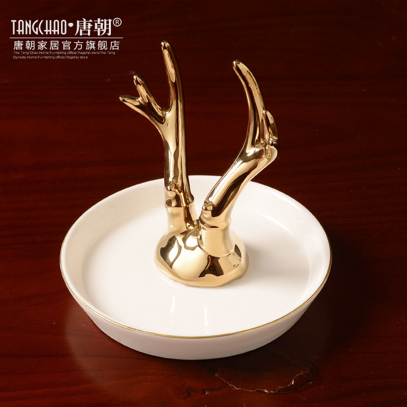 新款2018北欧现代陶瓷首饰托盘 金色动物收纳盘客厅酒柜装饰品创意