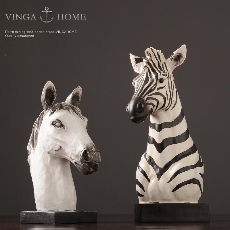 新款2018北欧动物树脂骏马胸像 客厅服装店橱窗道具马