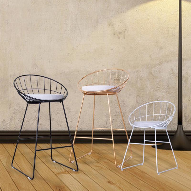 新款2018北欧简约金色极简吧吧台椅子铁艺甜品店咖啡餐厅创意高脚凳休
