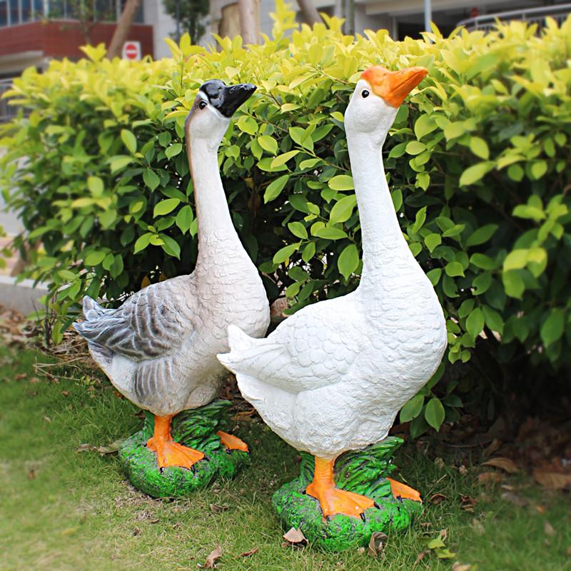 新款2018花园小区幼儿园林仿真鸭子大鹅公景观装饰品雕塑户外摆件