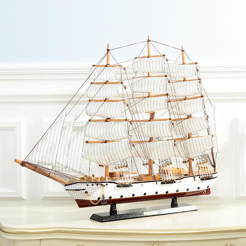 新款2018一帆风顺帆船模型摆件手工实木制作客厅大号木质地中海工艺仿
