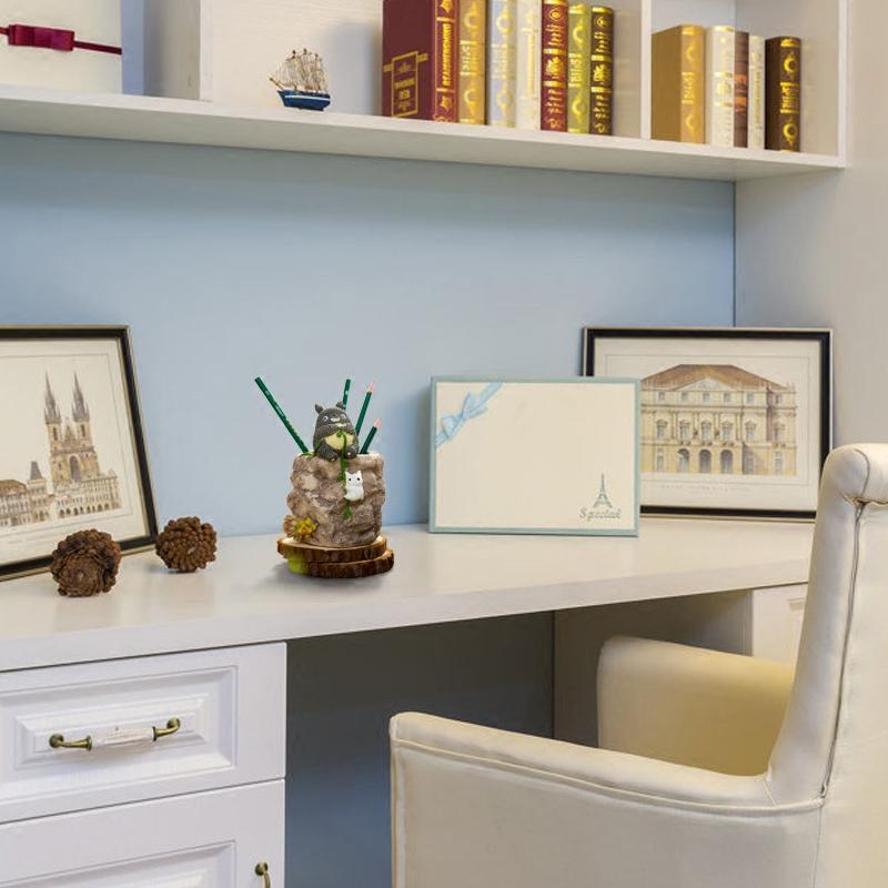 新款2018创意可爱个性龙猫笔筒装饰品摆件办公桌书房书桌少女房间卧室