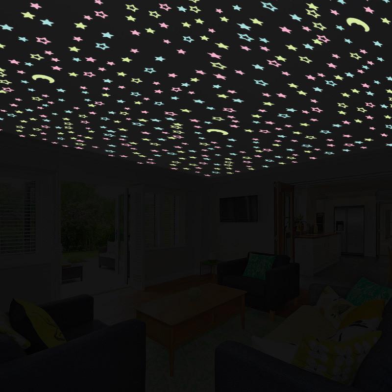 新款2018创意夜光荧光贴夜光星星月亮墙贴家居免钉客厅儿童房网吧软装