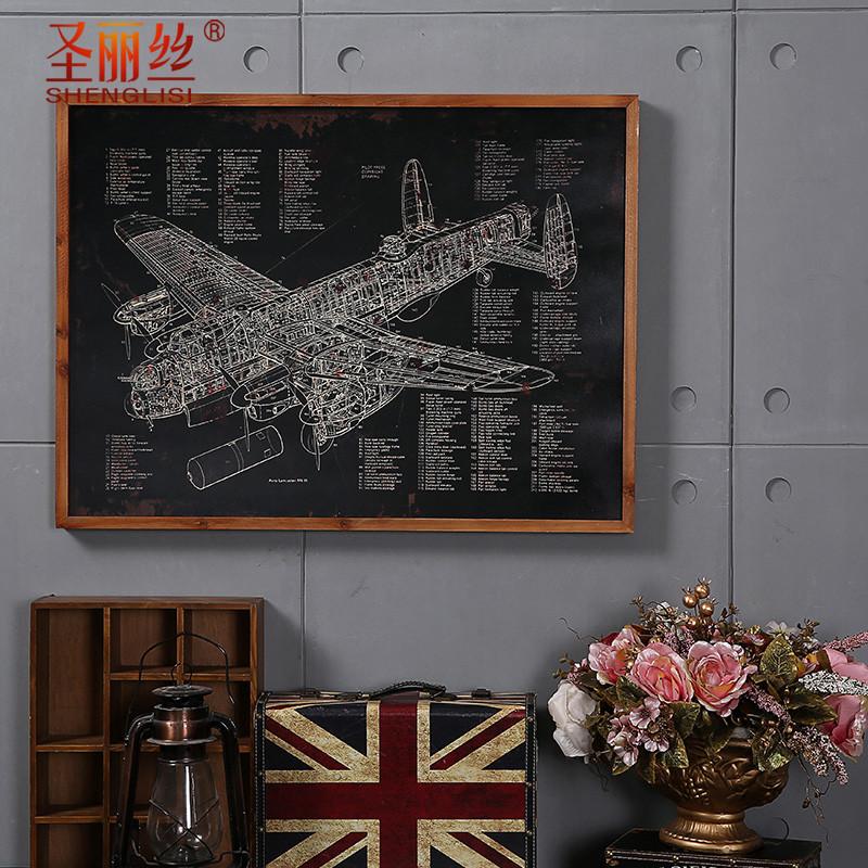 新款2018餐厅墙面装饰挂件 网吧装饰品创意黑板画 复古飞机帆船挂画壁