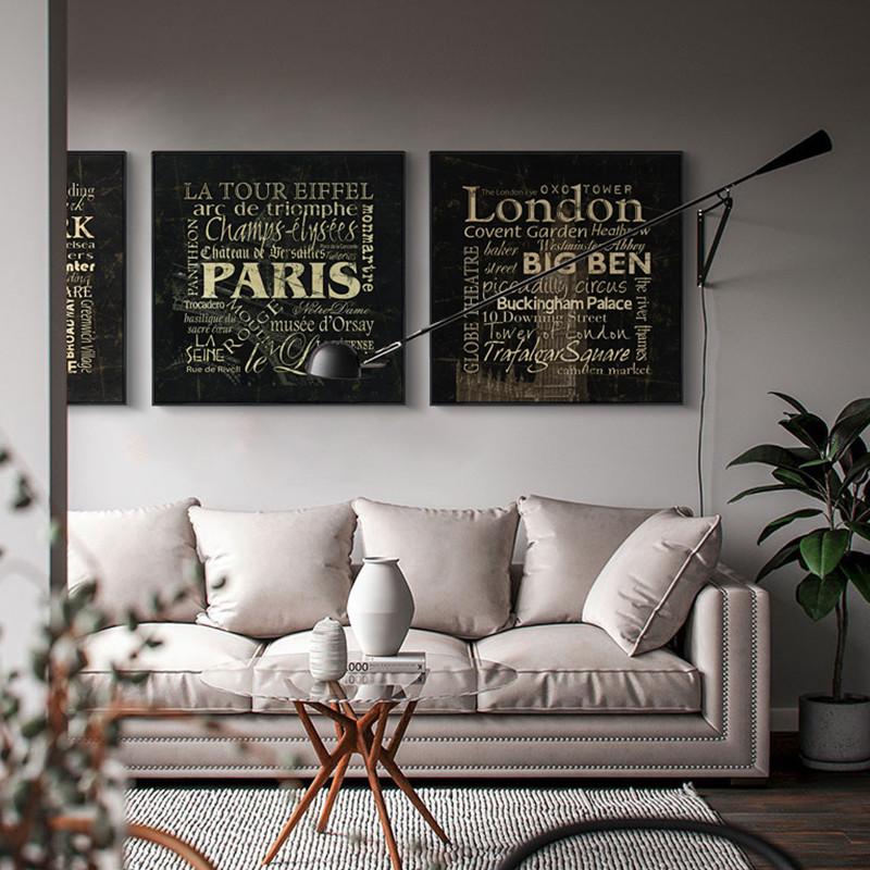 新款特价秀品轩北欧沙发背景墙装饰画客厅现代大气三联玄关走廊墙上装