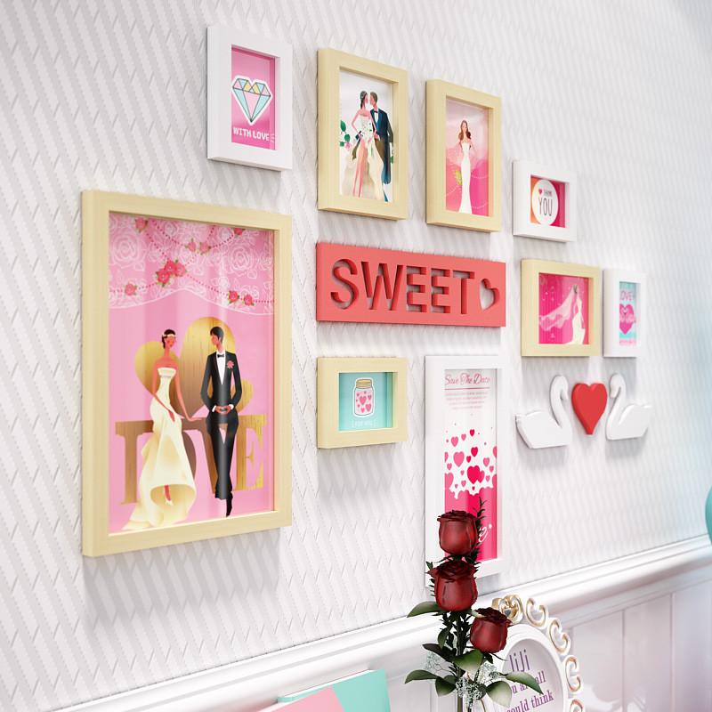 新款特价创意挂钟婚房照片墙简约现代相片墙组合悬挂装饰相框墙婚纱照