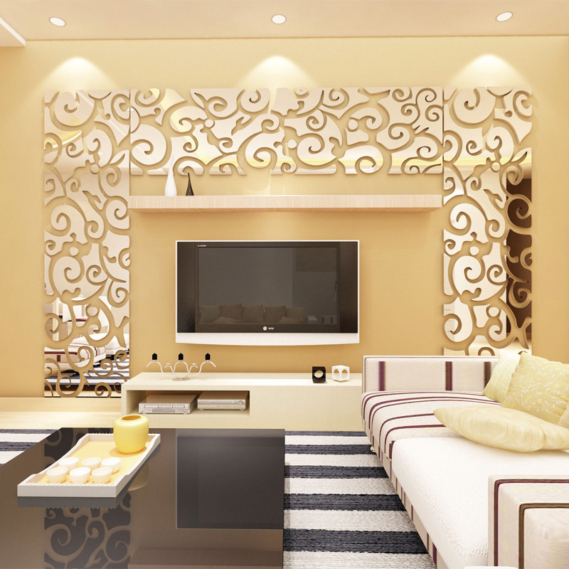 新款2018花纹镜面3d立体亚克力墙贴电视背景墙贴画组合边框客厅玄关