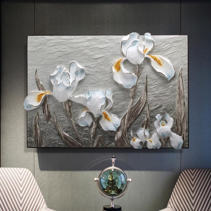 2018现代立体浮雕装饰画餐厅饭厅走廊挂画玄关走廊壁画家单幅无框墙画图片