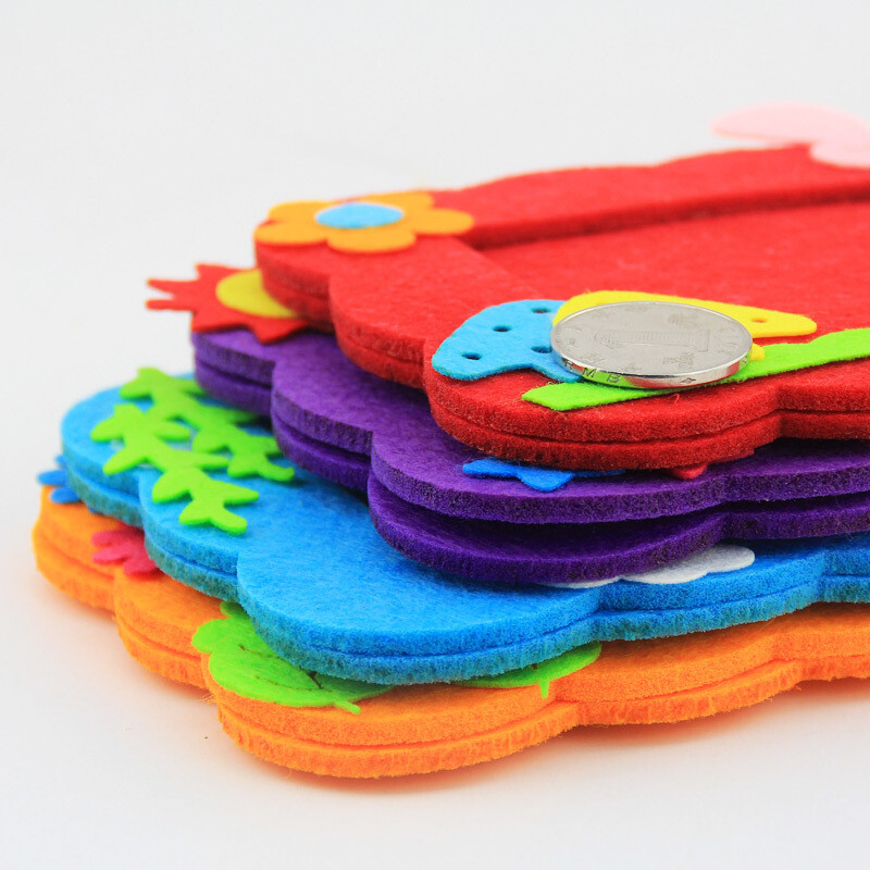 幼儿园手工制作创意diy无纺布粘贴相框材料包不织布布艺3d粘贴画蓝色5