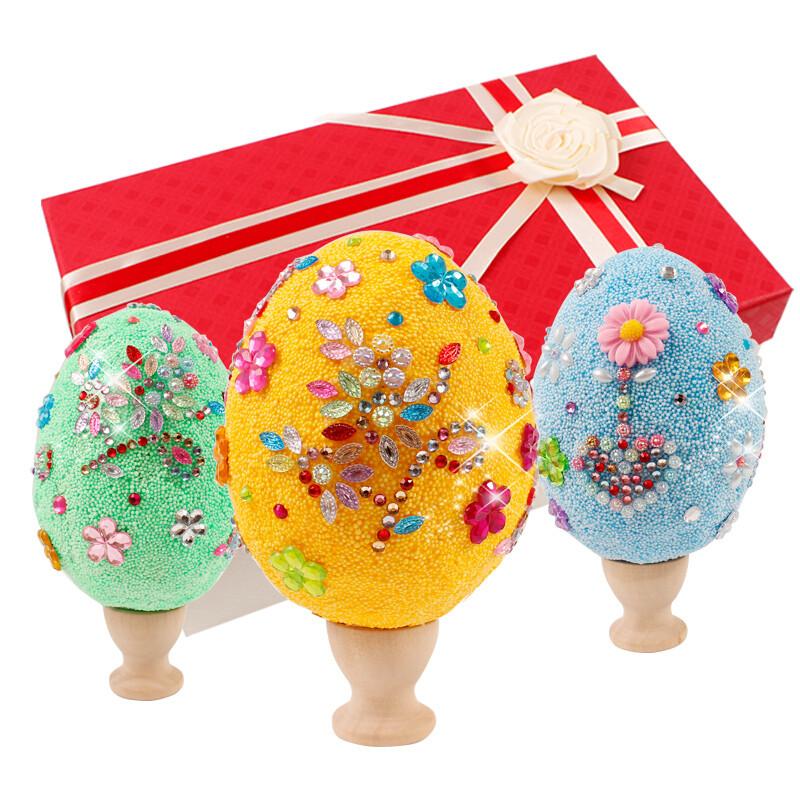 复活节彩蛋 儿童手工制作玩具创意彩绘鸡蛋雪花泥装饰