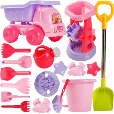 古达儿童沙滩玩具车套装大号宝宝玩沙子挖沙漏铲子工具决明子女孩玩具小公主蛋糕桶9件套