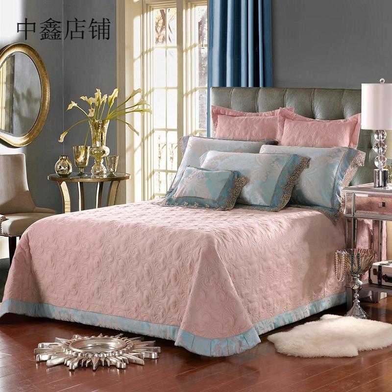 欧式绗缝夹棉床盖单件加厚床单床罩双人床盖四件套