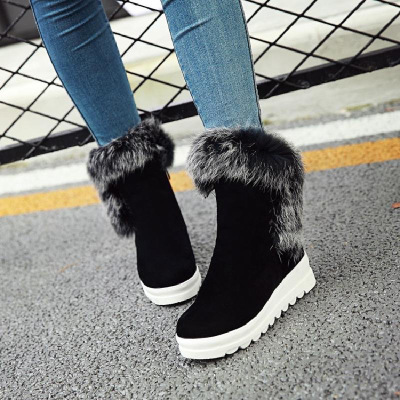 毛毛靴絨面冬季女鞋棉鞋加絨保暖雪地靴女短筒短靴女內增高厚底