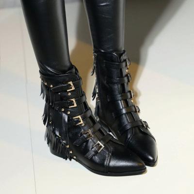 2018秋冬歐美新款百搭帥氣低跟粗跟尖頭流蘇鉚釘女短靴馬丁靴中筒