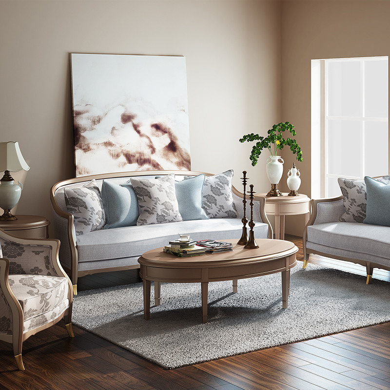 檀香丽舍 美式简约铂金色轻奢可拆洗黄杨木布艺沙发美式单椅北欧式图片