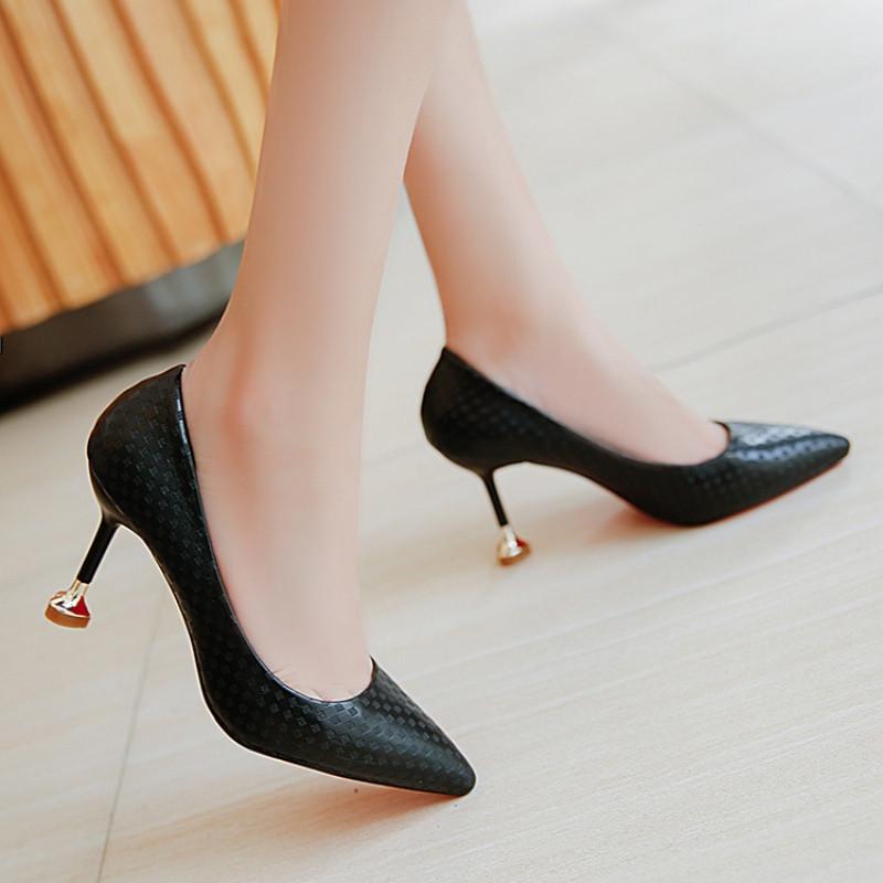 尖头细跟女鞋中跟单鞋高跟鞋婚鞋瘦腿工作鞋5-6-7-8-9cm公分厘米
