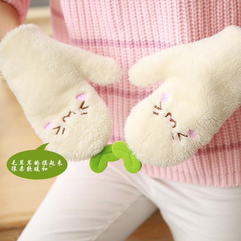韩版可爱卡通手套露指手套女冬季加厚加绒保暖半指连指冬天