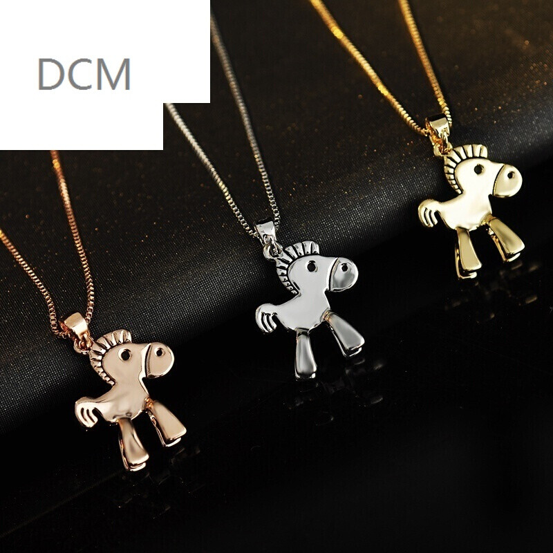 dcm-s925银项链女款时尚生肖马短款锁骨链百搭饰品