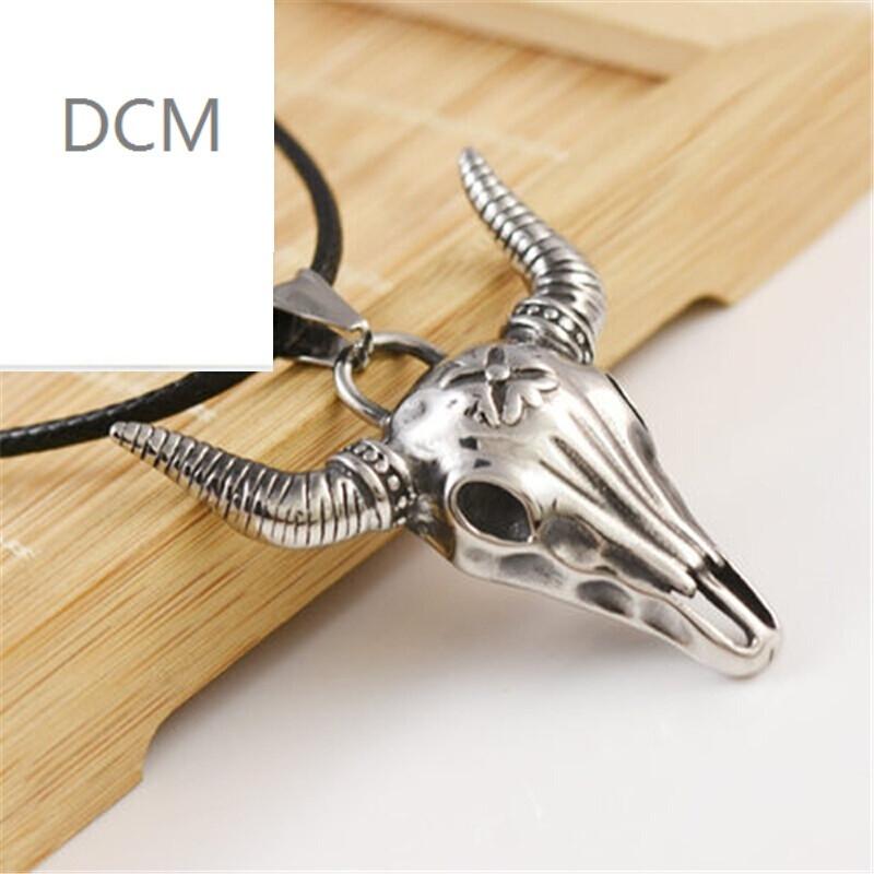 dcm钛钢吊坠牛头骷髅型项链项坠挂件时尚饰品男款