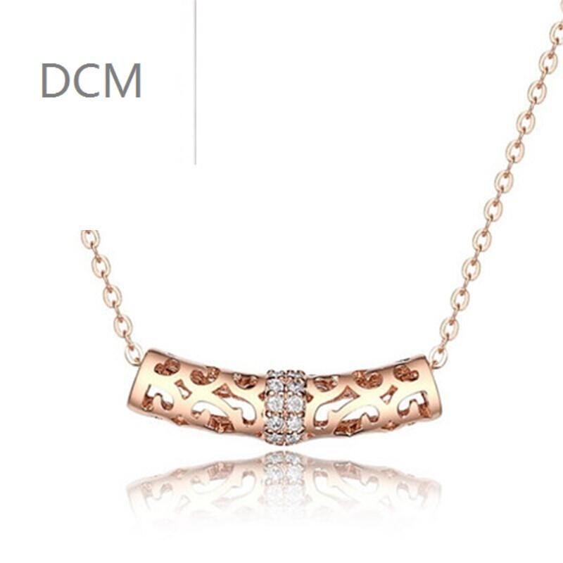 dcm925银项链韩版镂空花纹弯管女式吊坠情人节礼物送女友