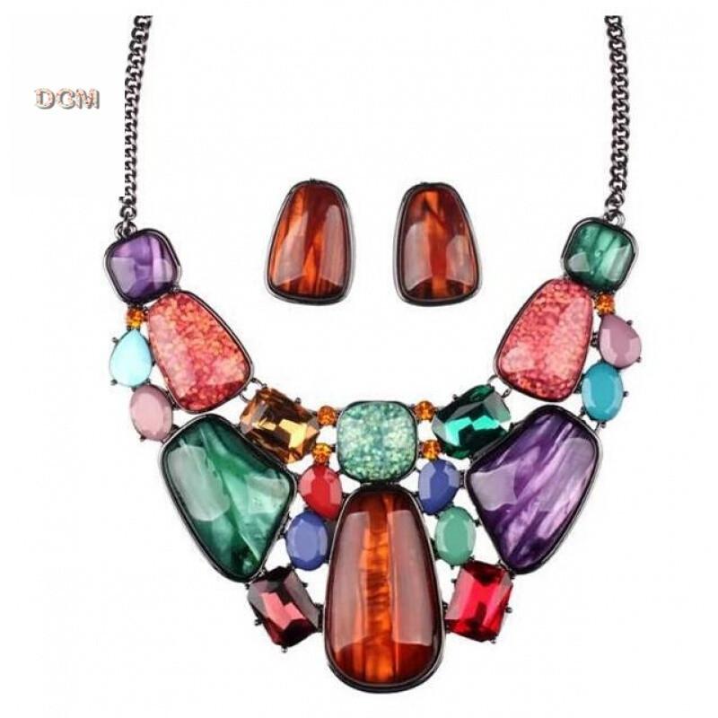 热销 高贵石头手绘多彩宝石项链锁骨链夸张饰品 彩色