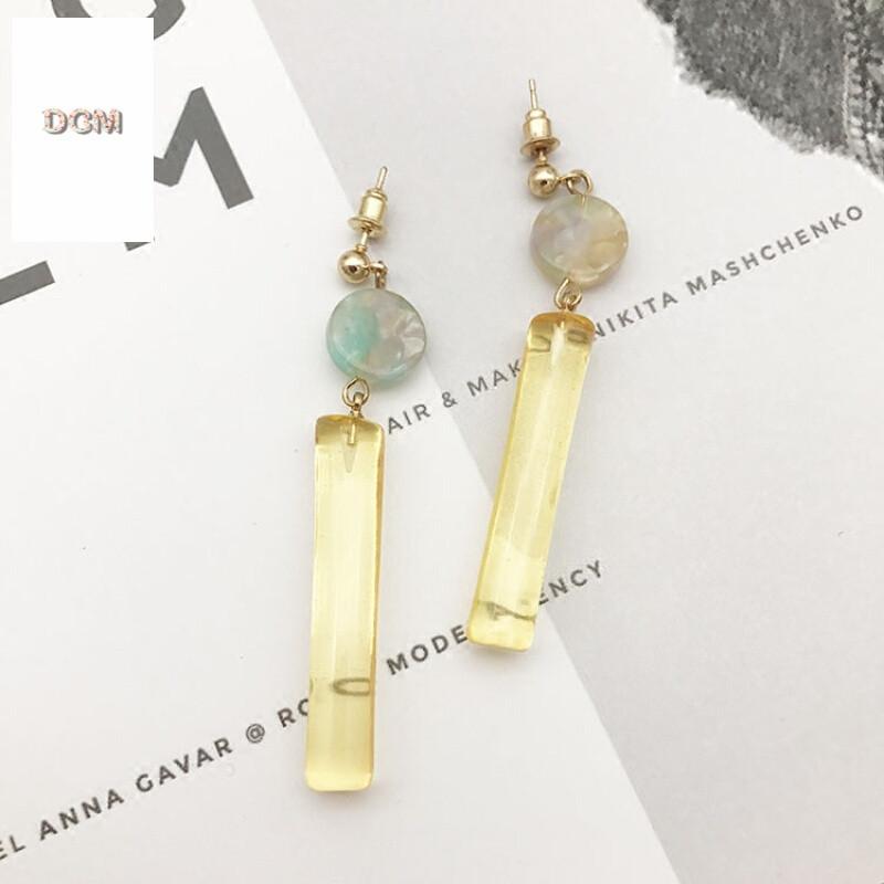 日韩梦幻色彩透明水彩色圆柱形吊坠耳钉韩国个性时尚耳饰耳坠耳环