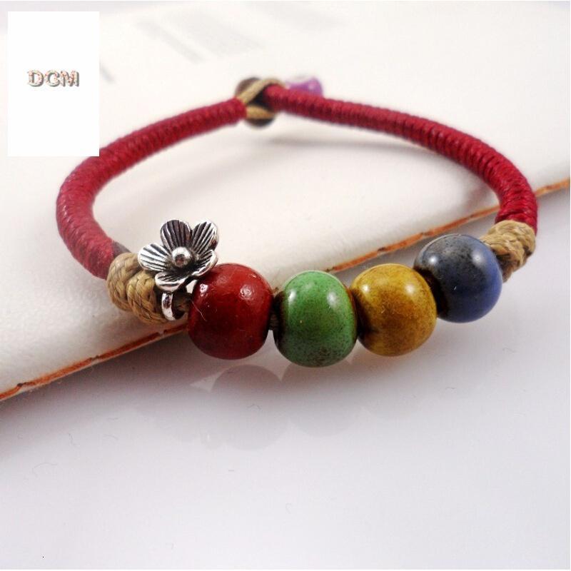 手链陶瓷编织手链 窑变珠 串珠 窑变绕线 均码