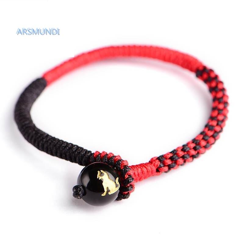 arsmundi129129十二生肖本命年红绳手链手工编织红绳黑曜石手链男女