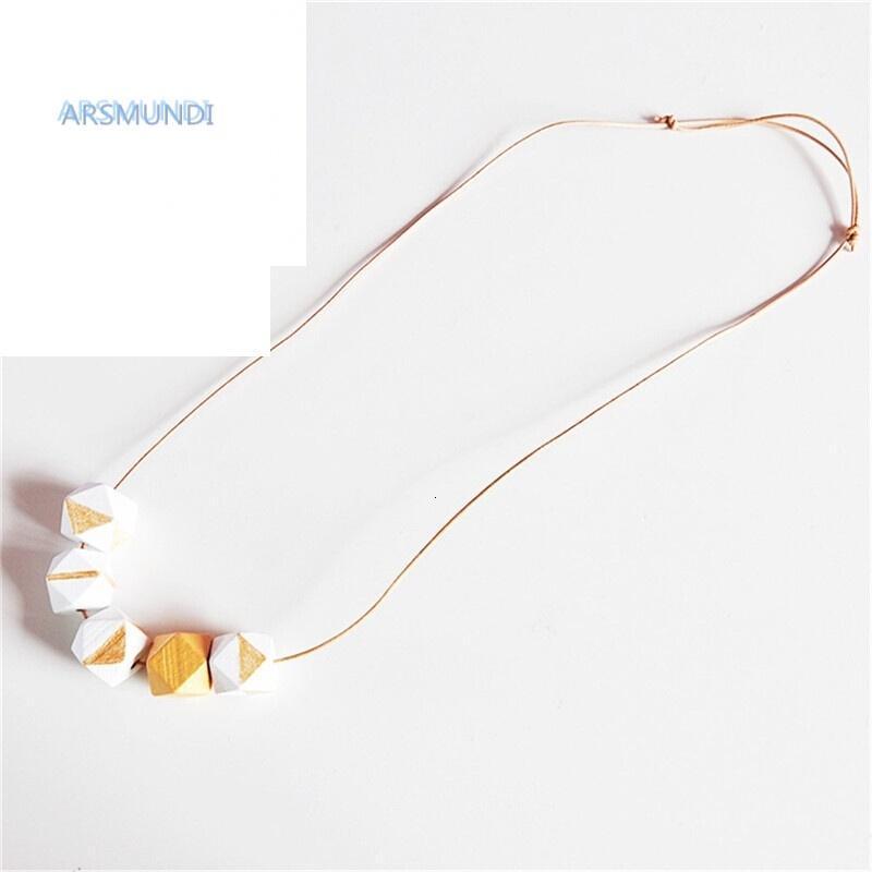 arsmundi设计师手绘木珠木头积木项链毛衣链 饰品 配饰 项链