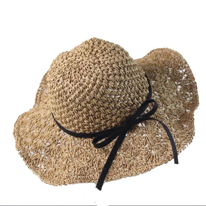 新款韩版大檐手工编织草帽子女夏天海边度假防晒遮阳帽沙滩帽镂空凉帽