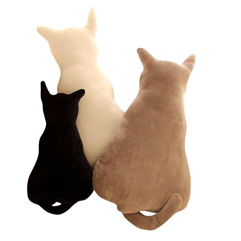 促销创意可爱剪影猫咪靠垫 背影猫毛绒玩具公仔 影子猫靠枕 生日礼物