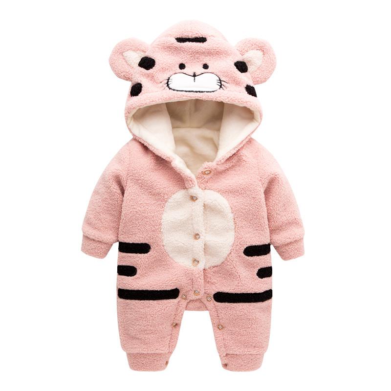 促销宝宝衣服冬装新生儿动物造型连体衣女婴儿连帽衣服长袖爬爬服韩版