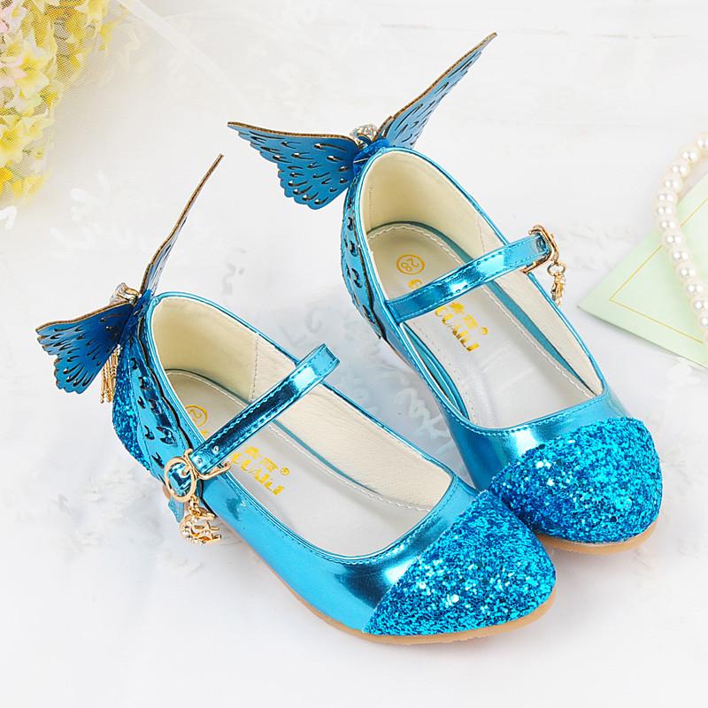促销天天特价女童高跟鞋儿童水晶鞋小孩公主单鞋春秋蝴蝶结中大童皮鞋