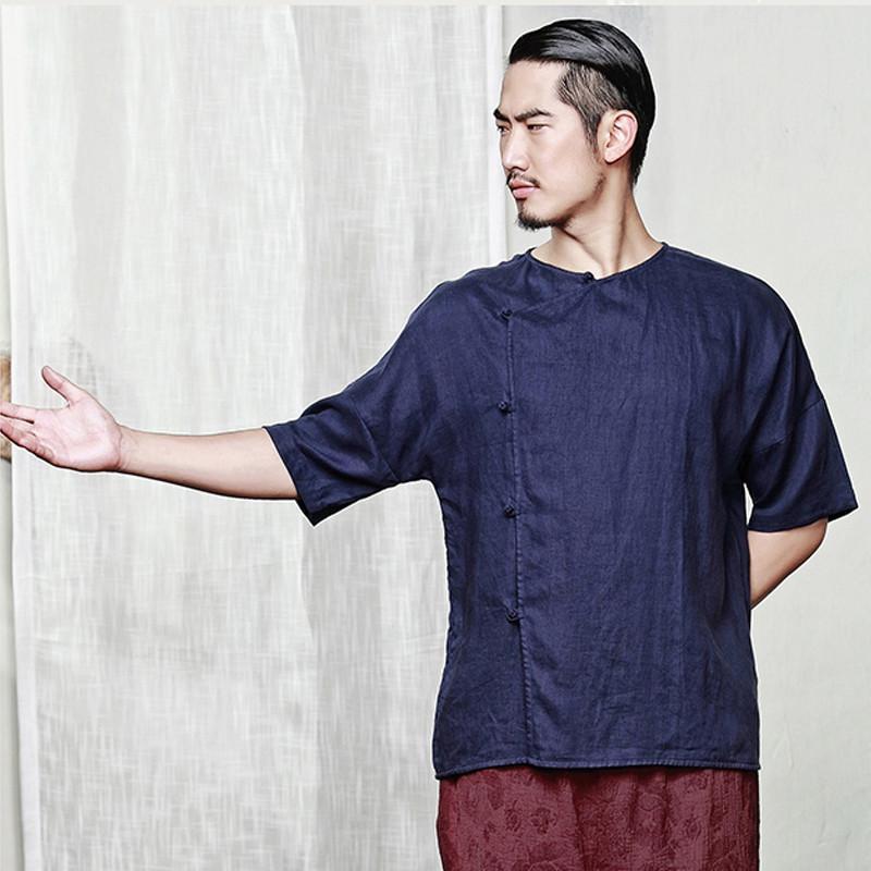 男士短袖衬衫2017新款民国复古衫无领设计亚麻盘扣衬衣潮zk