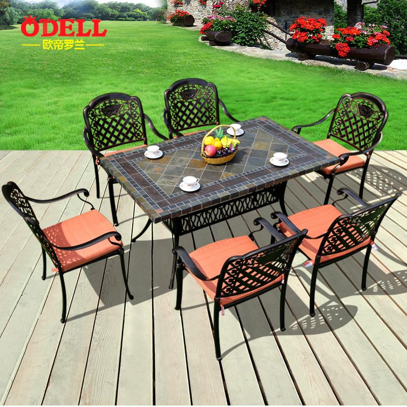 户外桌椅欧式铸铝桌椅休闲阳台庭院花园铁艺户外家具五七件套组合
